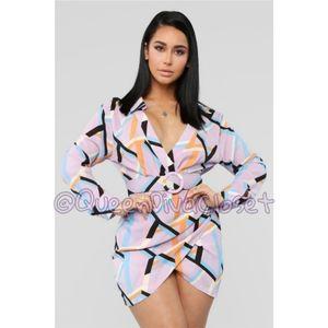 Groovy Mama lavender lilac geo print mini dress XL
